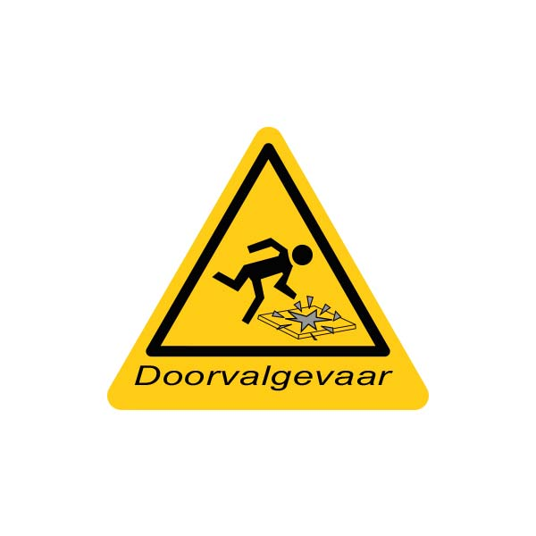 Sticker doorvalgevaar